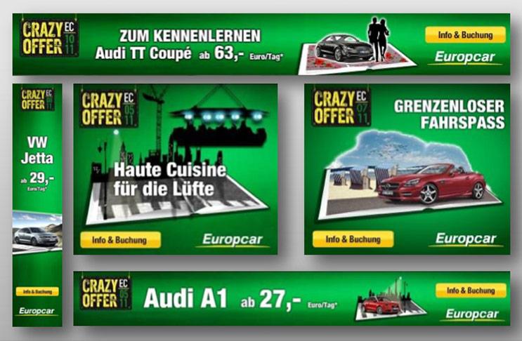 Banner für die Crazy Offer Kampagne von Europcar.