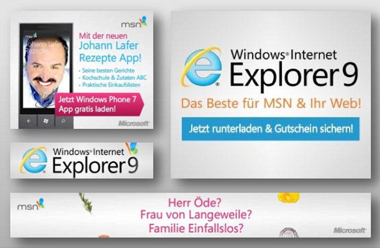 Eine Bannerproduktion für den Internetexplorer von Microsoft