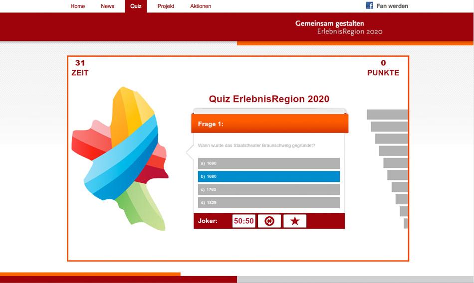 Quizgame als Facebook App für rund um die Erlebnisregion 2020.