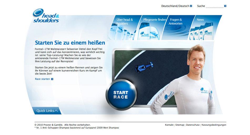 Top down Rennspiel und Teile einer Microsite rund um Sebastian Vettel und Head & Shoulders