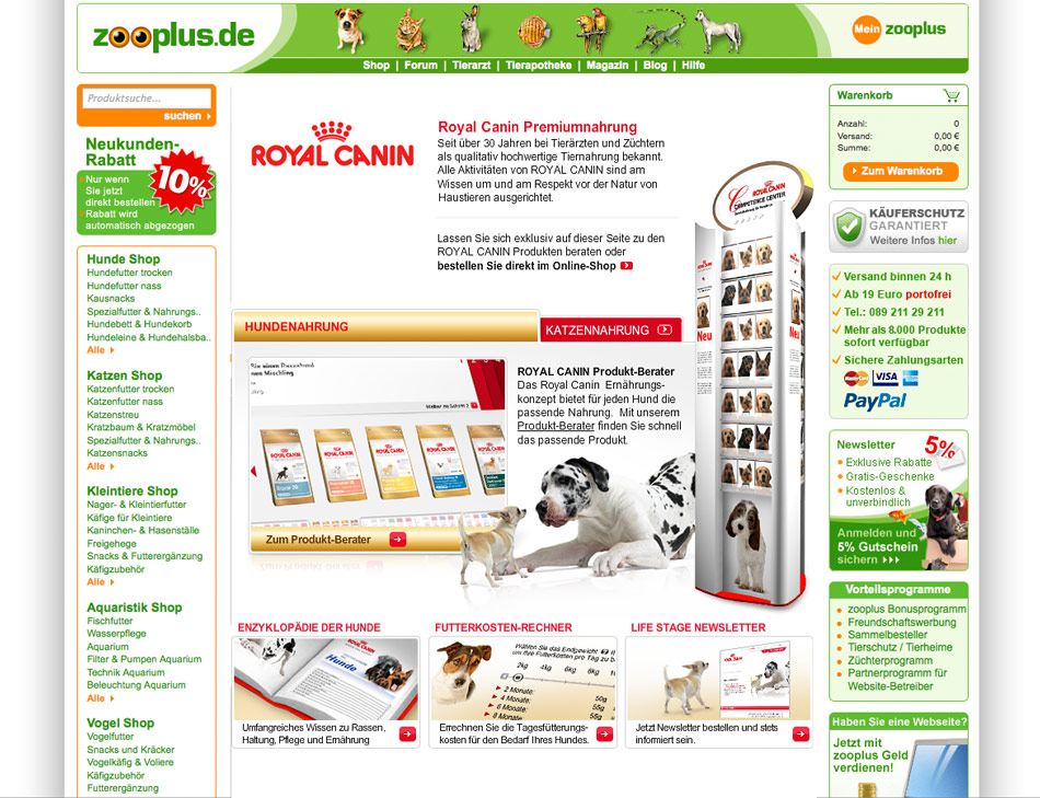 Shop in Shop E-Commerce Lösung für Royal Canin.