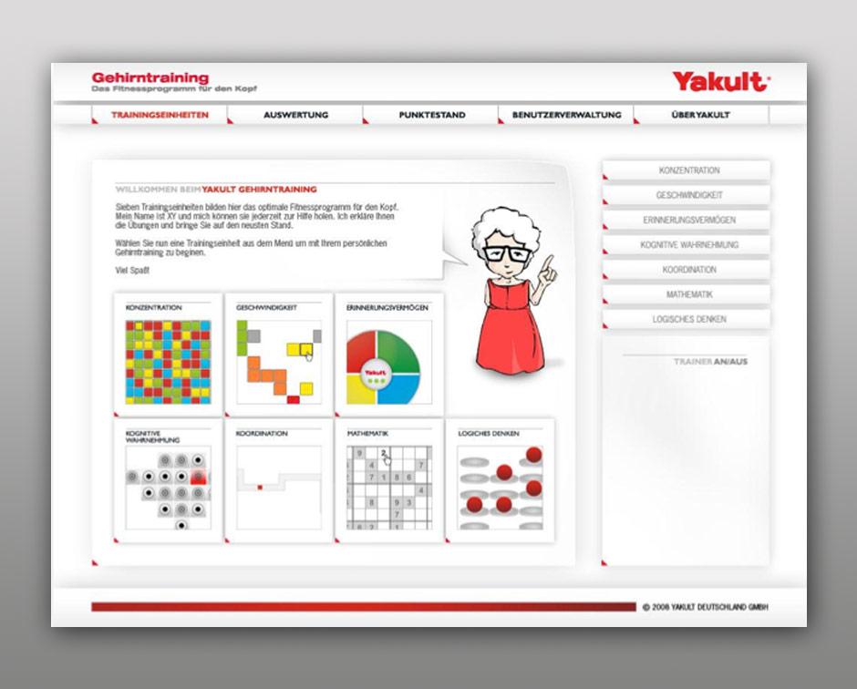 Eine komplette Braintrainig-Suite inklusive Auswertung für Yakult. Das Braintrainig wurde als CD mit den leckeren und gesunden Produkten von Yakult im Einzelhandel verkauft.