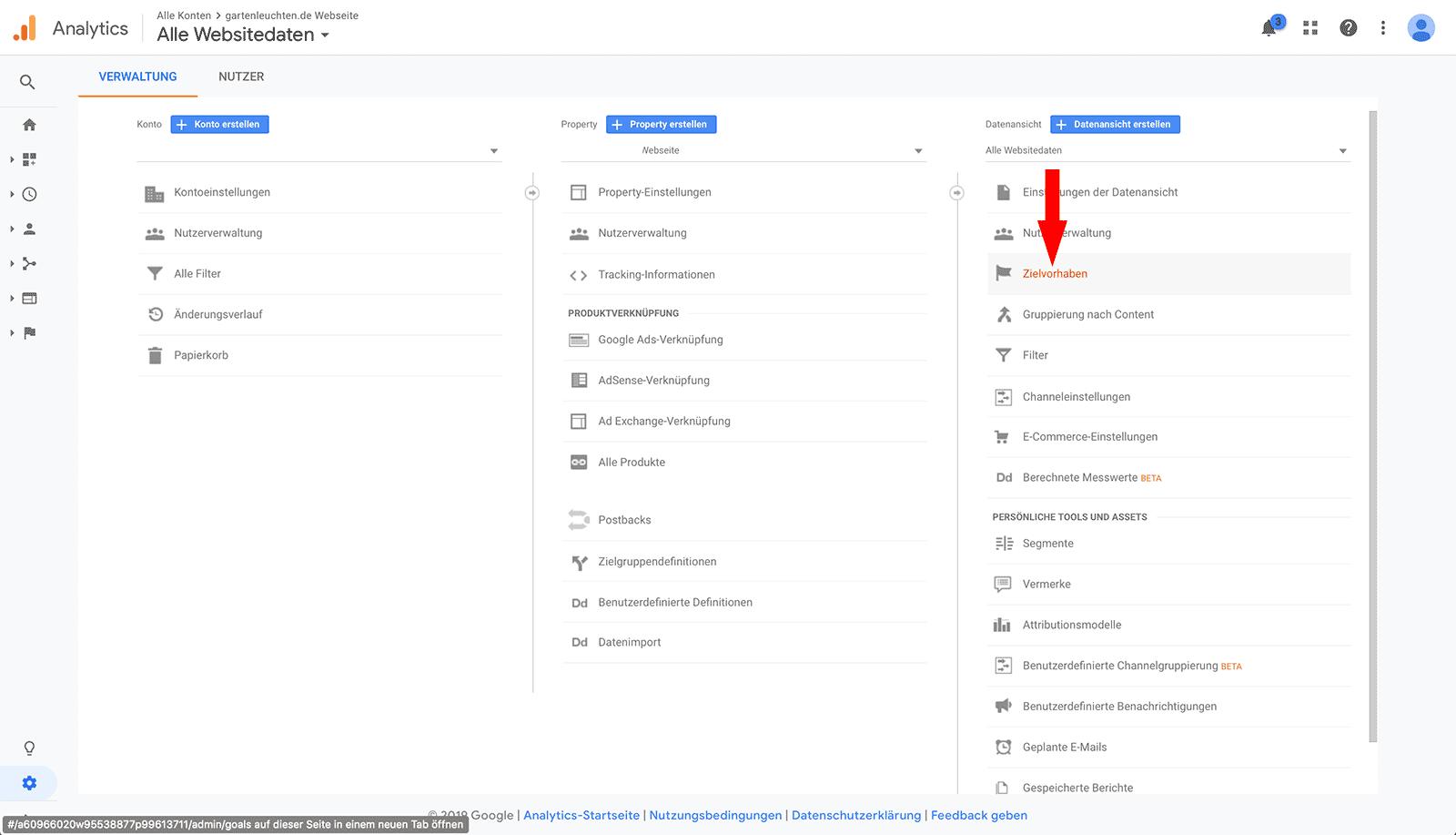 Zielvorhaben in Google Analytics anzeigen um Conversion Tracking für ein Contact Form 7 Formular einzurichten