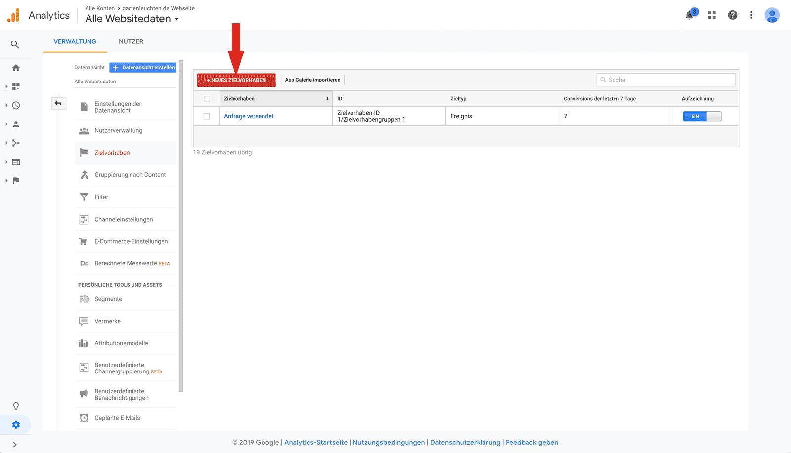 Ein neues Zielvorhaben in Google Analytics erstellen um Conversion Tracking für ein Contact Form 7 Formular einzurichten