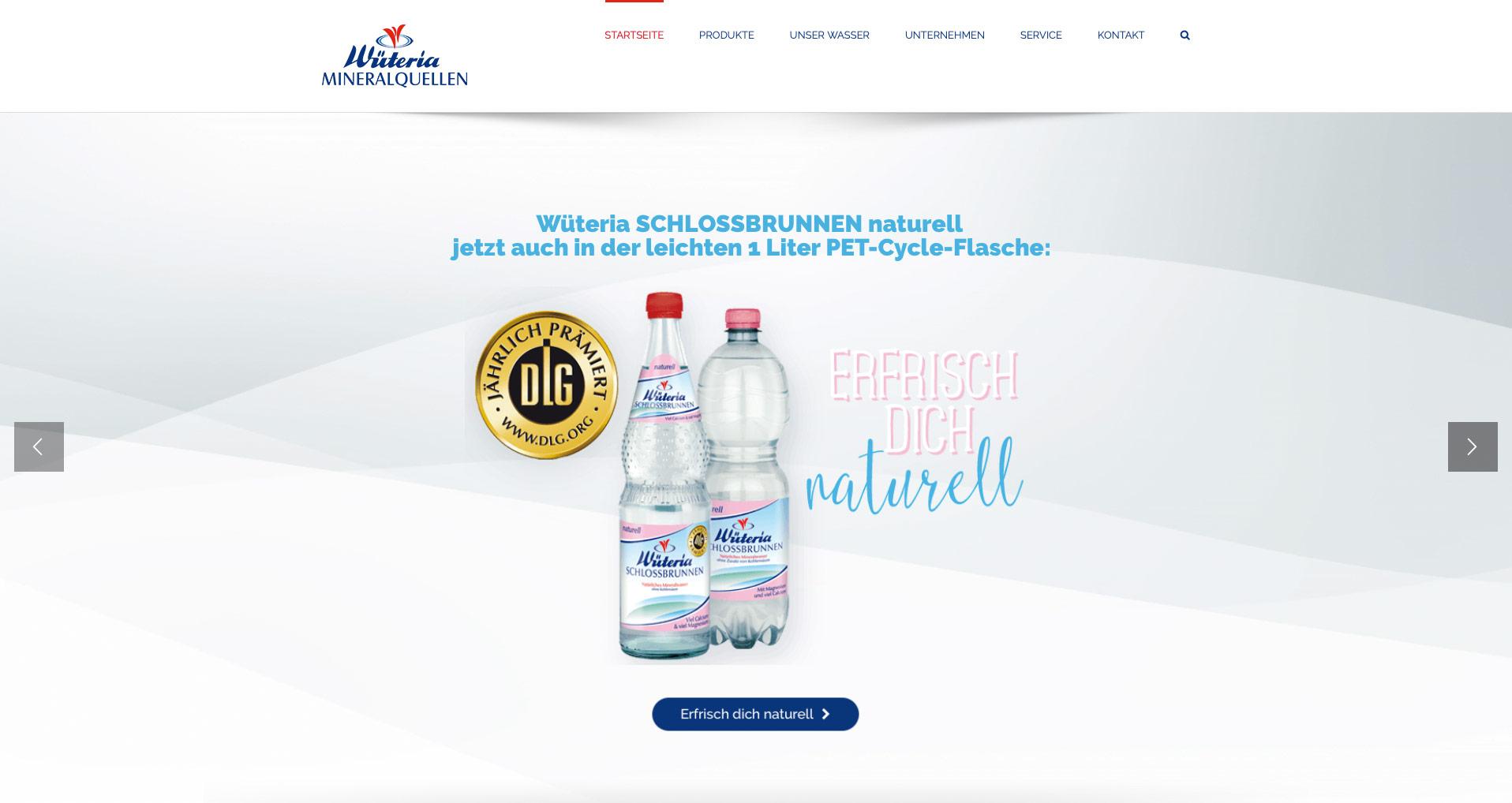 P1XEL - WordPress Webseite für den Getränkehersteller Wüteria Mineralquellen in Gemmingen