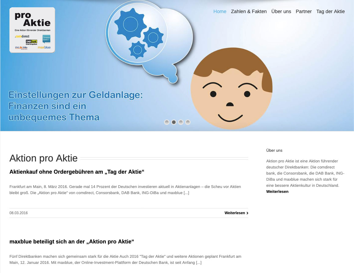 P1XEL - WordPress Blog für die Aktion Pro Aktie der Comdirekt Bank