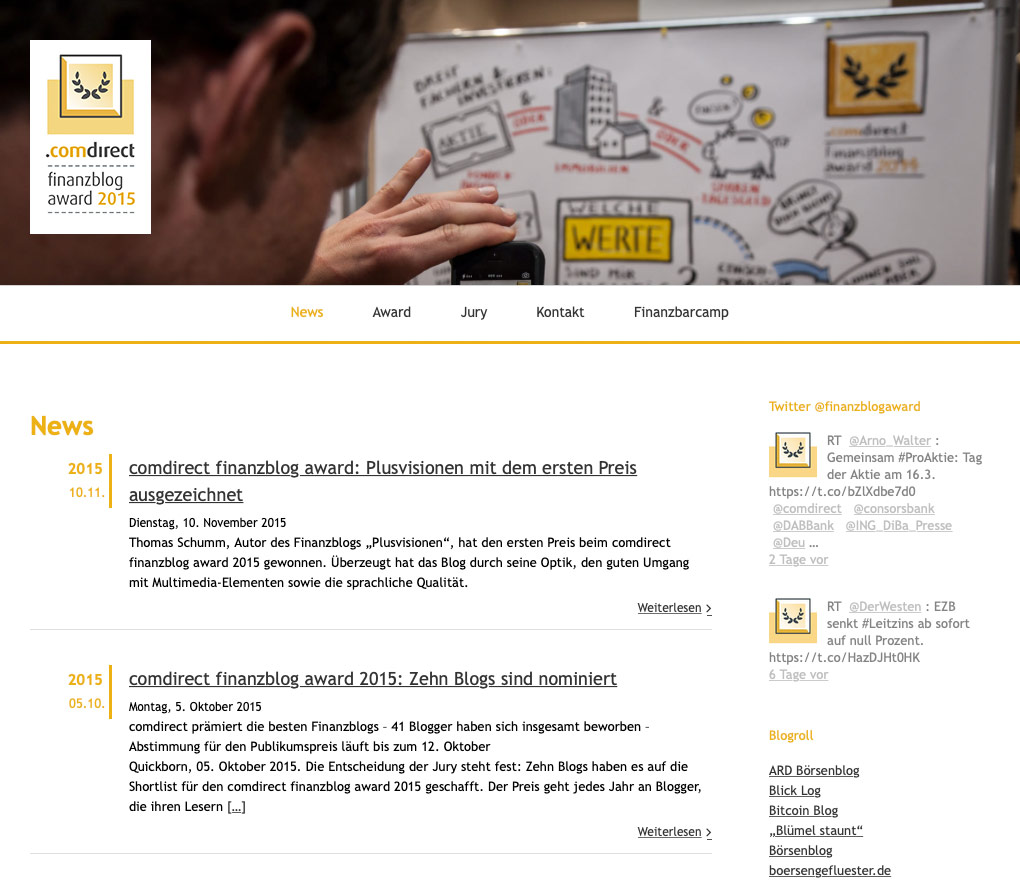 P1XEL - WordPress Blog rund um den Finanzblog Award der comdirekt Bank