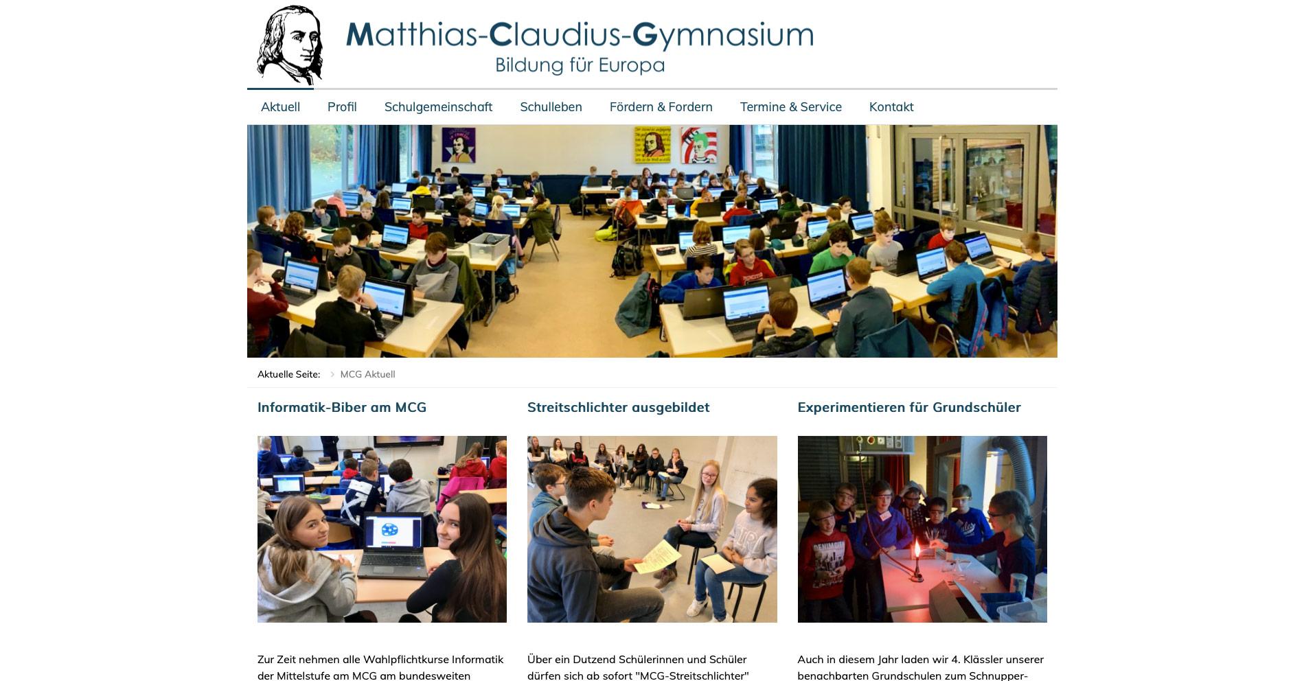 P1XEL - Joomla Webseite für das Matthias-Claudius-Gymnasium in Hamburg