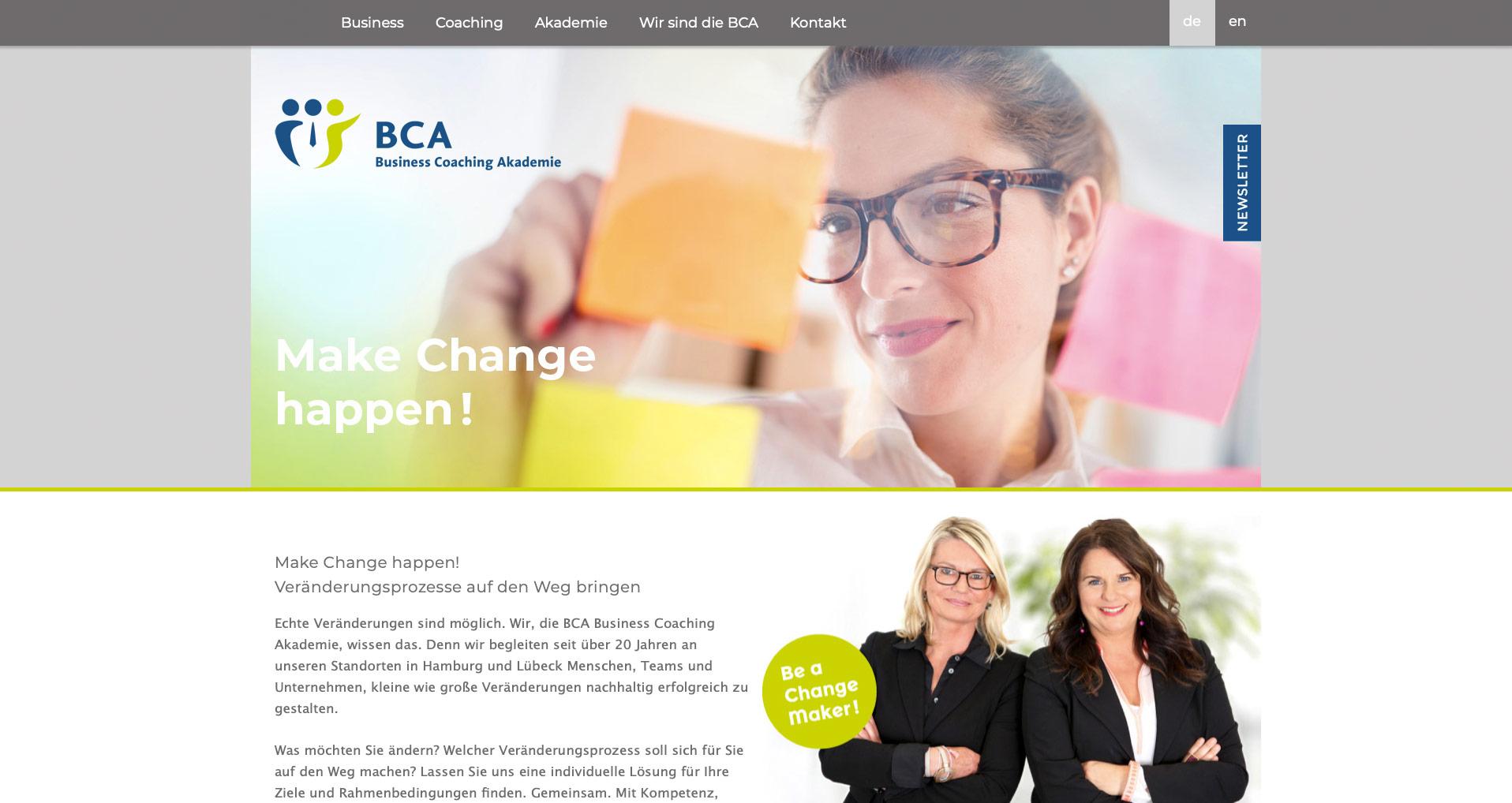 P1XEL - WordPress Webseite für die Business Coaching Akademie in Hamburg